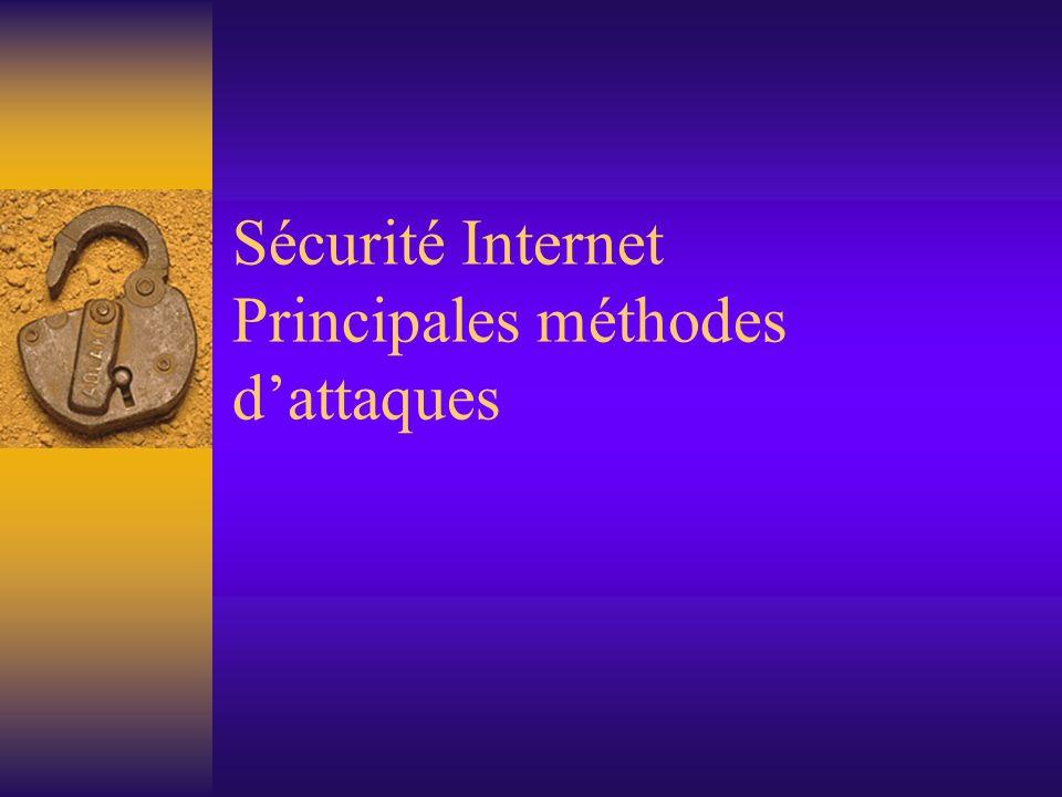 Sécurité Internet Principales méthodes dattaques