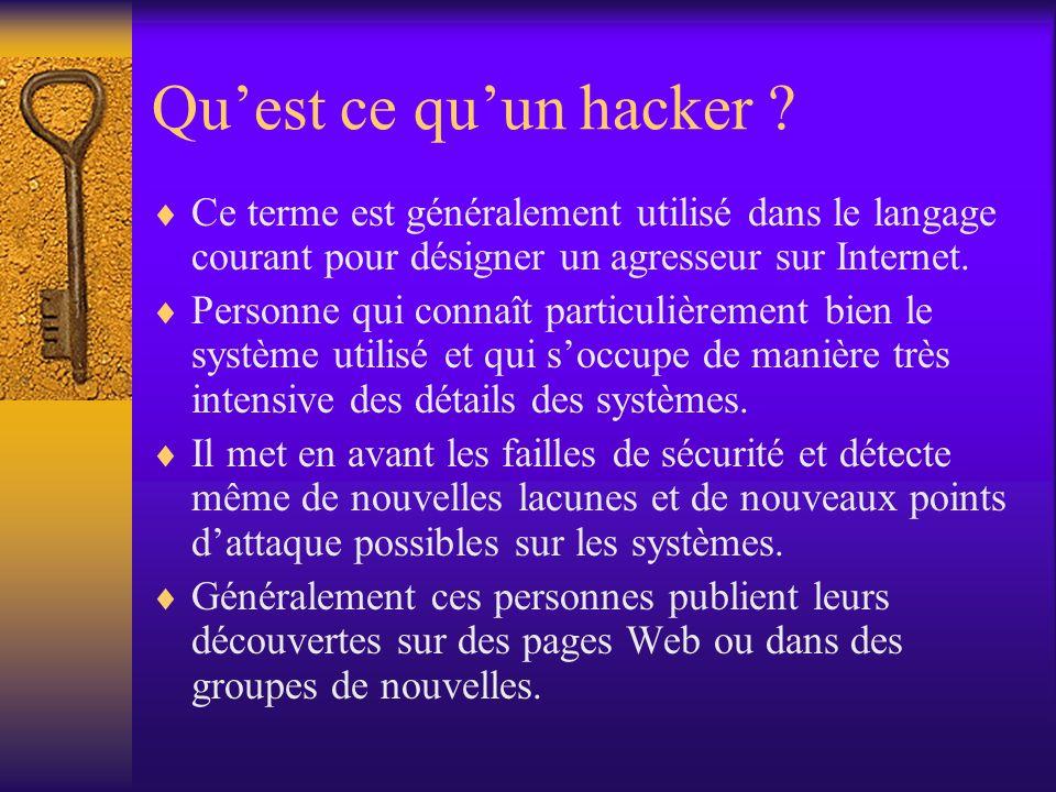 Quest ce quun hacker ? Ce terme est généralement utilisé dans le langage courant pour désigner un agresseur sur Internet. Personne qui connaît particu