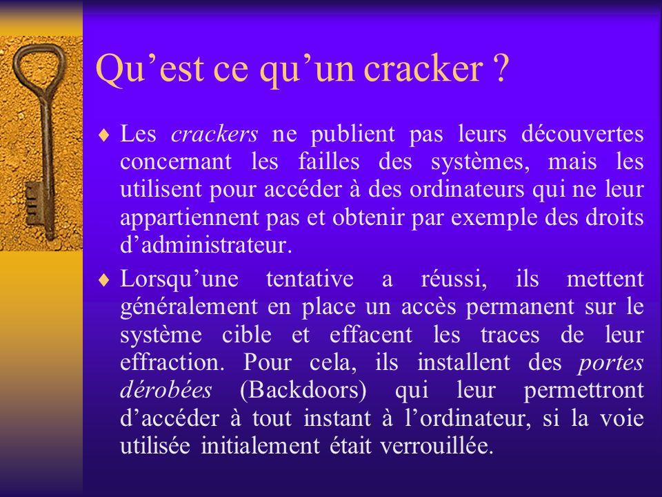 Quest ce quun cracker ? Les crackers ne publient pas leurs découvertes concernant les failles des systèmes, mais les utilisent pour accéder à des ordi