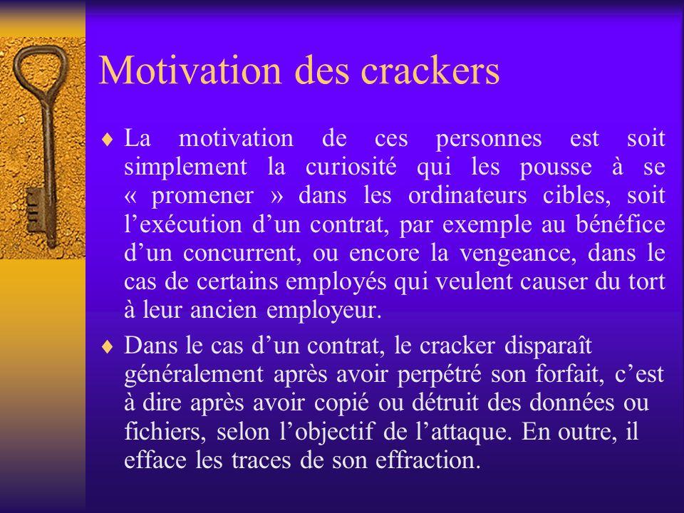 Motivation des crackers La motivation de ces personnes est soit simplement la curiosité qui les pousse à se « promener » dans les ordinateurs cibles,