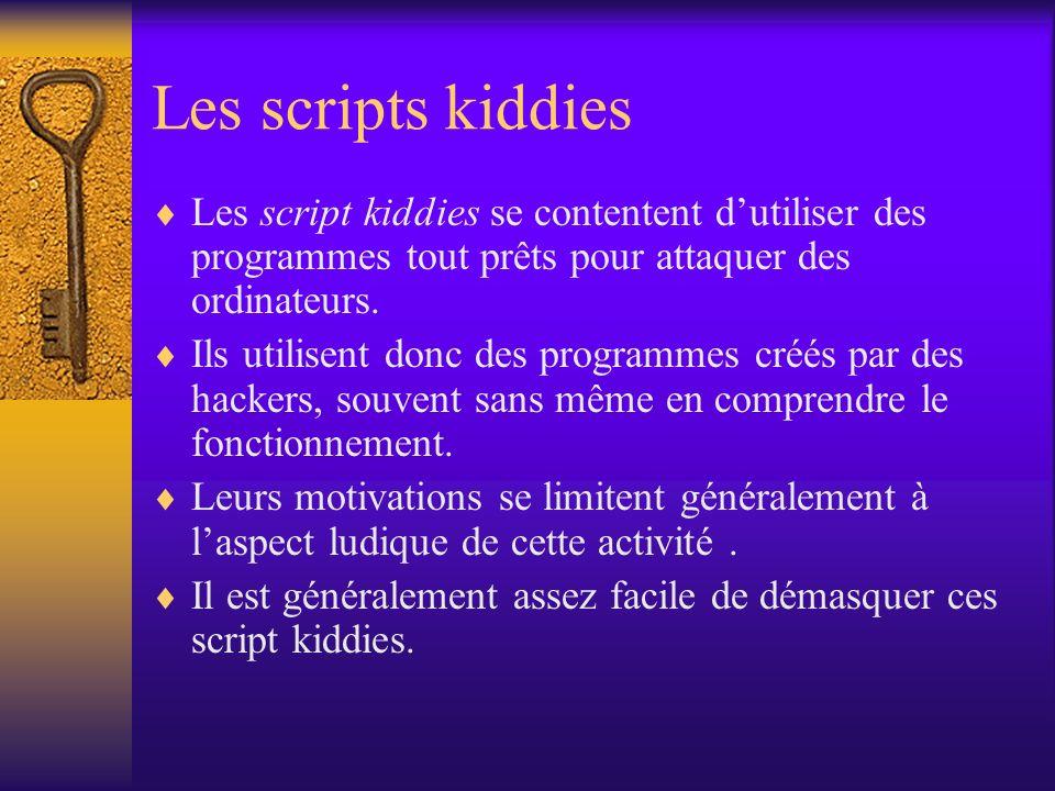 Les scripts kiddies Les script kiddies se contentent dutiliser des programmes tout prêts pour attaquer des ordinateurs. Ils utilisent donc des program