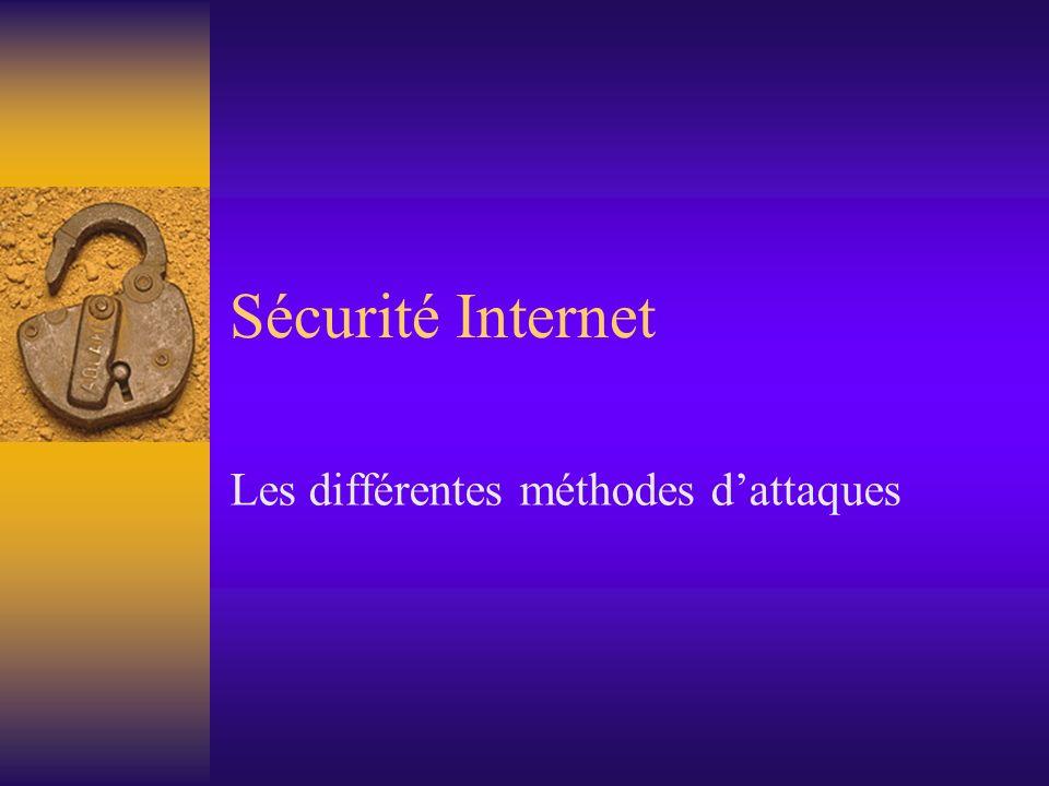 Sécurité Internet Les différentes méthodes dattaques
