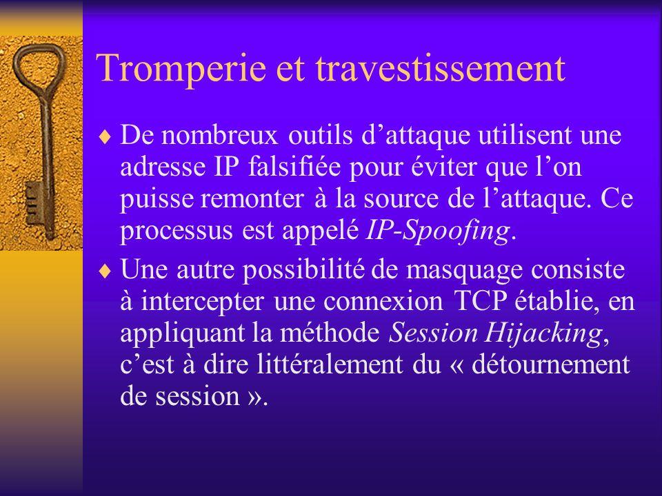 Tromperie et travestissement De nombreux outils dattaque utilisent une adresse IP falsifiée pour éviter que lon puisse remonter à la source de lattaqu