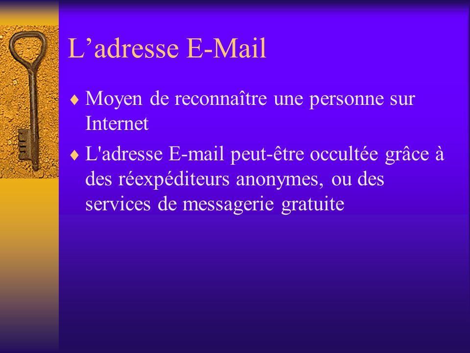 Ladresse E-Mail Moyen de reconnaître une personne sur Internet L'adresse E-mail peut-être occultée grâce à des réexpéditeurs anonymes, ou des services