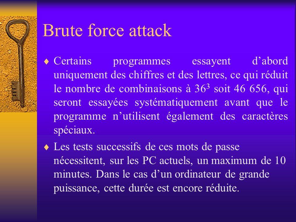 Brute force attack Certains programmes essayent dabord uniquement des chiffres et des lettres, ce qui réduit le nombre de combinaisons à 36 3 soit 46
