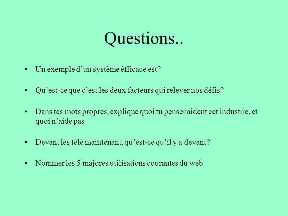 Questions.. Un exemple dun système éfficace est? Quest-ce que cest les deux facteurs qui relever nos défis? Dans tes mots propres, explique quoi tu pe