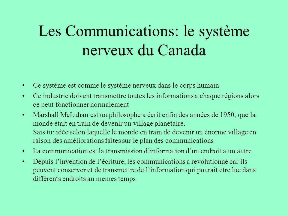 Les Communications: le système nerveux du Canada Ce système est comme le système nerveux dans le corps humain Ce industrie doivent transmettre toutes
