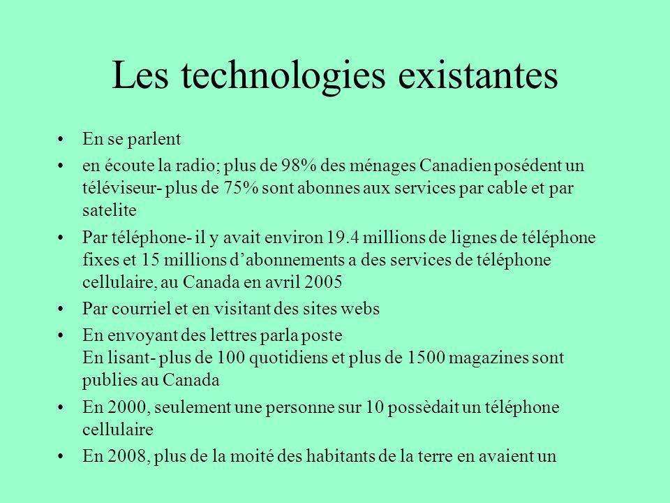 Les technologies existantes En se parlent en écoute la radio; plus de 98% des ménages Canadien posédent un téléviseur- plus de 75% sont abonnes aux se