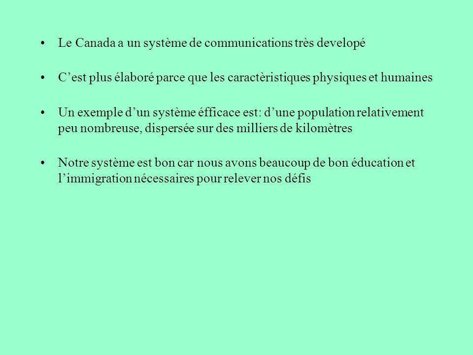 Le Canada a un système de communications très developé Cest plus élaboré parce que les caractèristiques physiques et humaines Un exemple dun système é