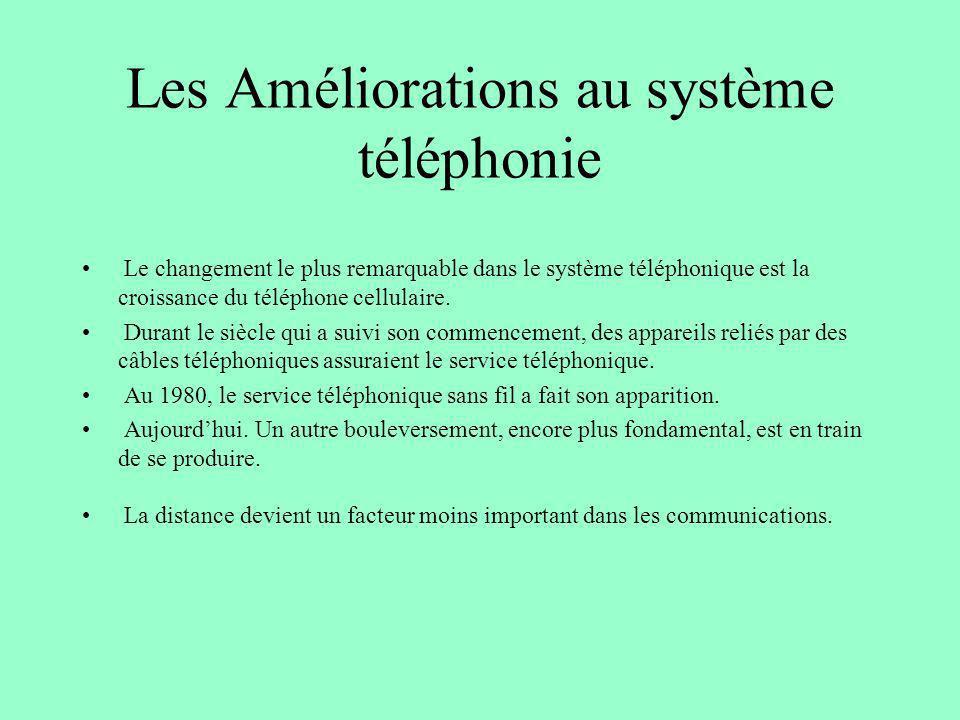 Les Améliorations au système téléphonie Le changement le plus remarquable dans le système téléphonique est la croissance du téléphone cellulaire. Dura