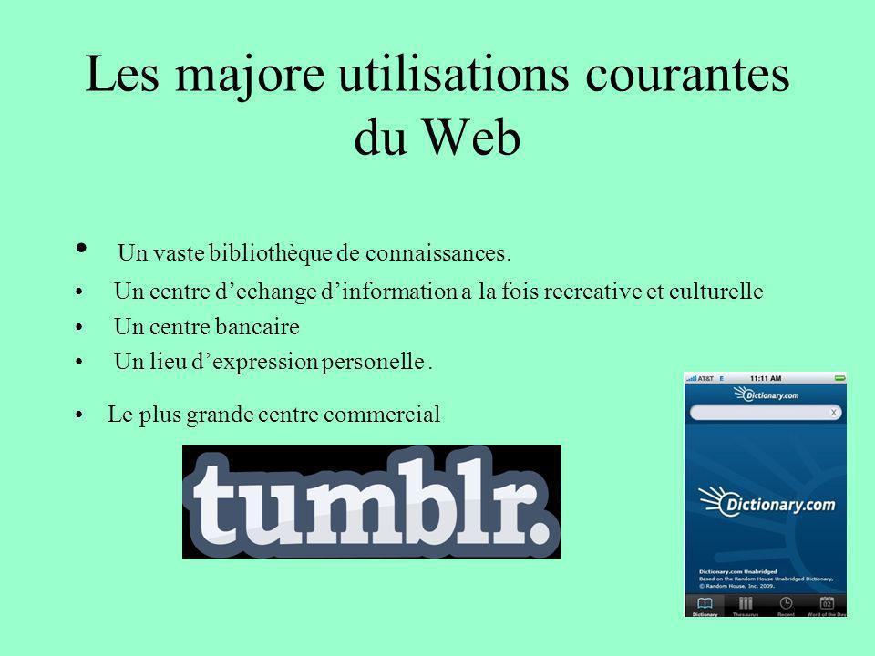 Les majore utilisations courantes du Web Un vaste bibliothèque de connaissances. Un centre dechange dinformation a la fois recreative et culturelle Un