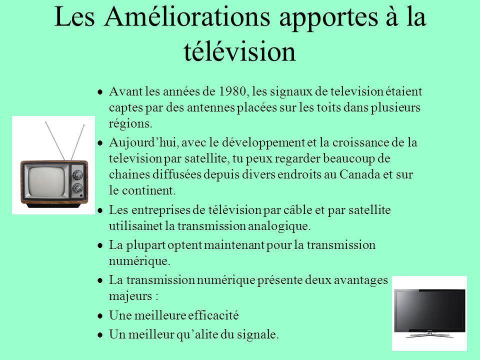 Les Améliorations apportes à la télévision Avant les années de 1980, les signaux de television étaient captes par des antennes placées sur les toits d