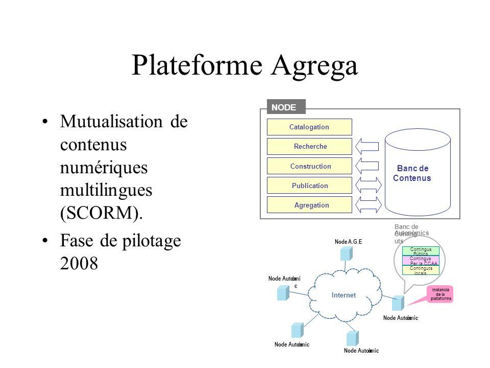 Plateforme Agrega Mutualisation de contenus numériques multilingues (SCORM).