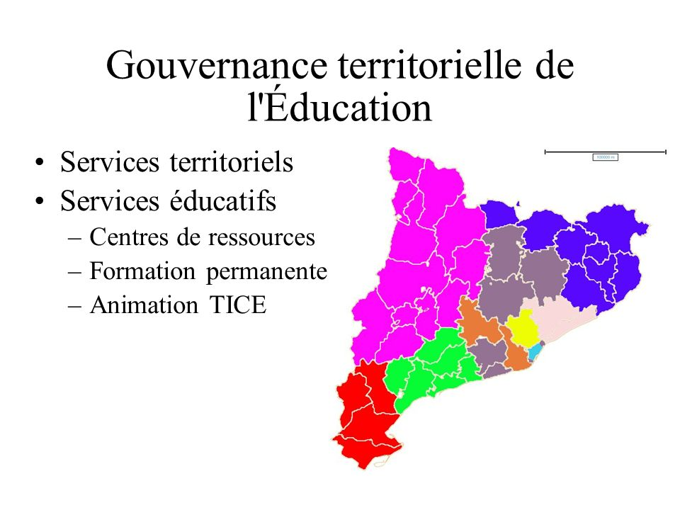 Gouvernance territorielle de l Éducation Services territoriels Services éducatifs –Centres de ressources –Formation permanente –Animation TICE