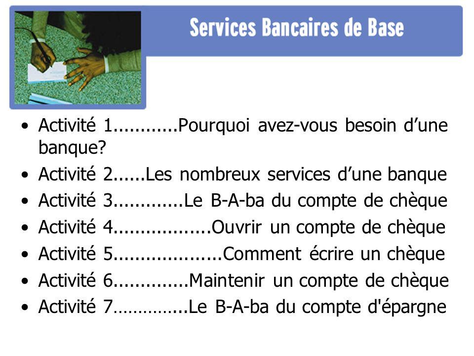 Activité 1............Pourquoi avez-vous besoin dune banque? Activité 2......Les nombreux services dune banque Activité 3.............Le B-A-ba du com