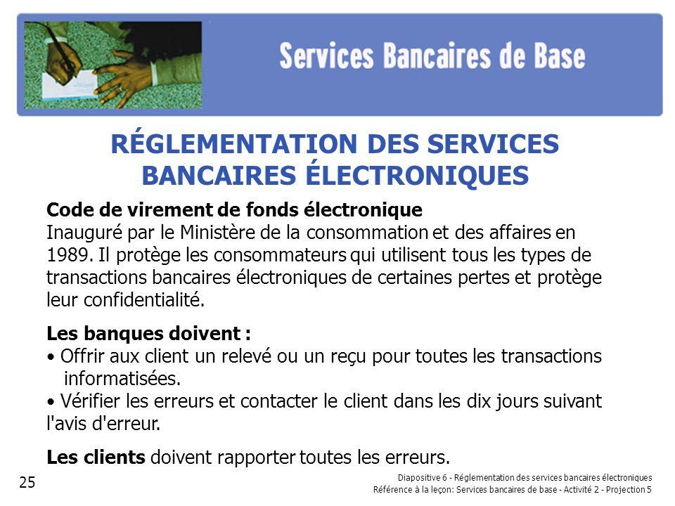 RÉGLEMENTATION DES SERVICES BANCAIRES ÉLECTRONIQUES Code de virement de fonds électronique Inauguré par le Ministère de la consommation et des affaire