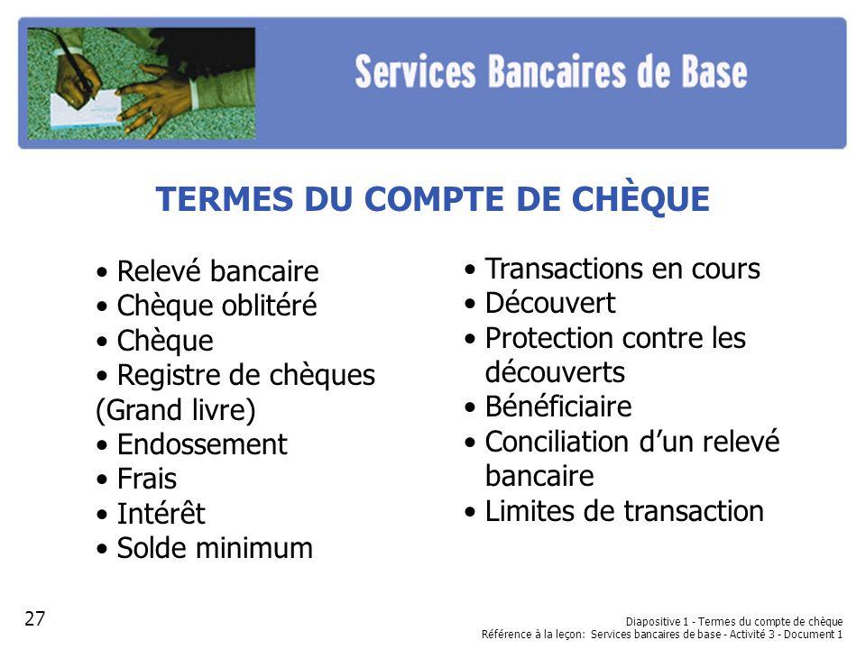 Diapositive 1 - Termes du compte de chèque Référence à la leçon: Services bancaires de base - Activité 3 - Document 1 TERMES DU COMPTE DE CHÈQUE Relev