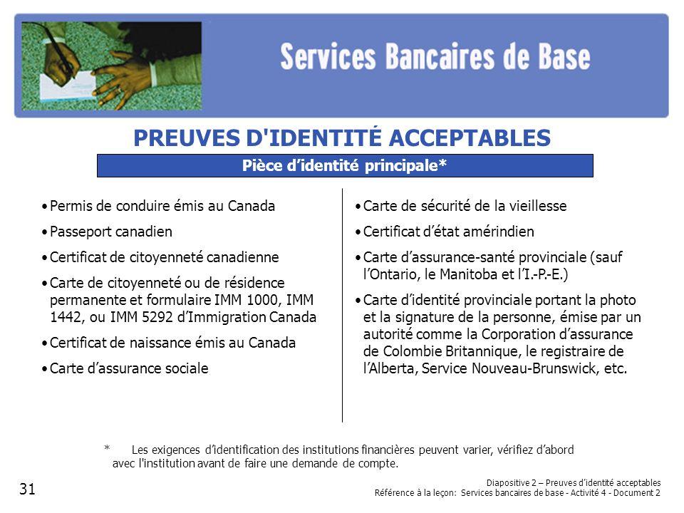 Diapositive 2 – Preuves didentité acceptables Référence à la leçon: Services bancaires de base - Activité 4 - Document 2 Pièce didentité principale* P