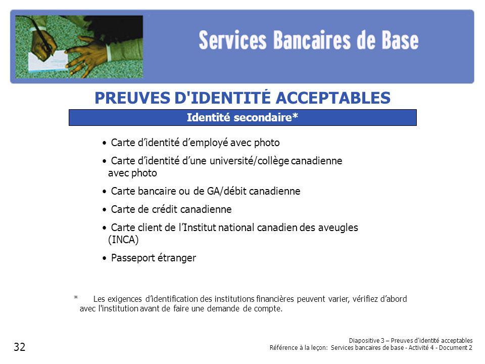 Diapositive 3 – Preuves didentité acceptables Référence à la leçon: Services bancaires de base - Activité 4 - Document 2 Identité secondaire* Carte di
