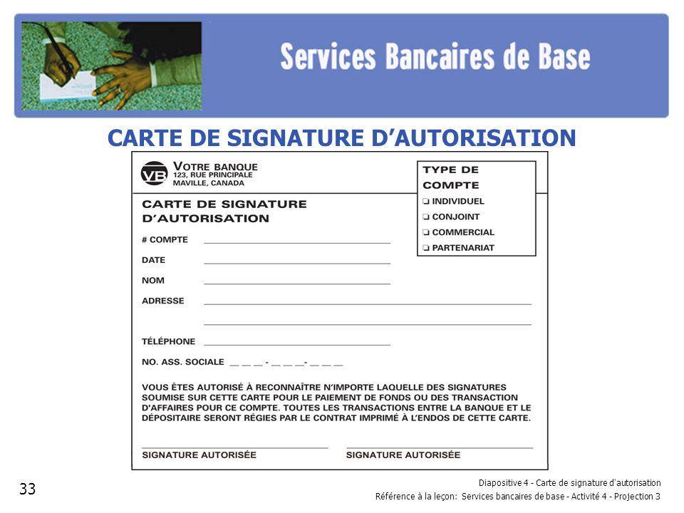Diapositive 4 - Carte de signature d'autorisation Référence à la leçon: Services bancaires de base - Activité 4 - Projection 3 CARTE DE SIGNATURE DAUT