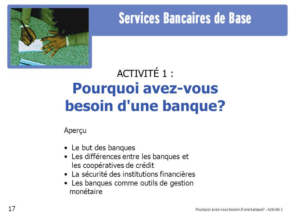 Pourquoi avez-vous besoin dune banque? - Activité 1 ACTIVITÉ 1 : Pourquoi avez-vous besoin d'une banque? Aperçu Le but des banques Les différences ent