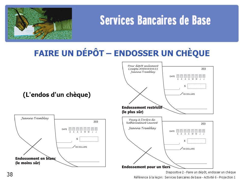 Diapositive 2 - Faire un dépôt, endosser un chèque Référence à la leçon: Services bancaires de base - Activité 6 - Projection 1 FAIRE UN DÉPÔT – ENDOS