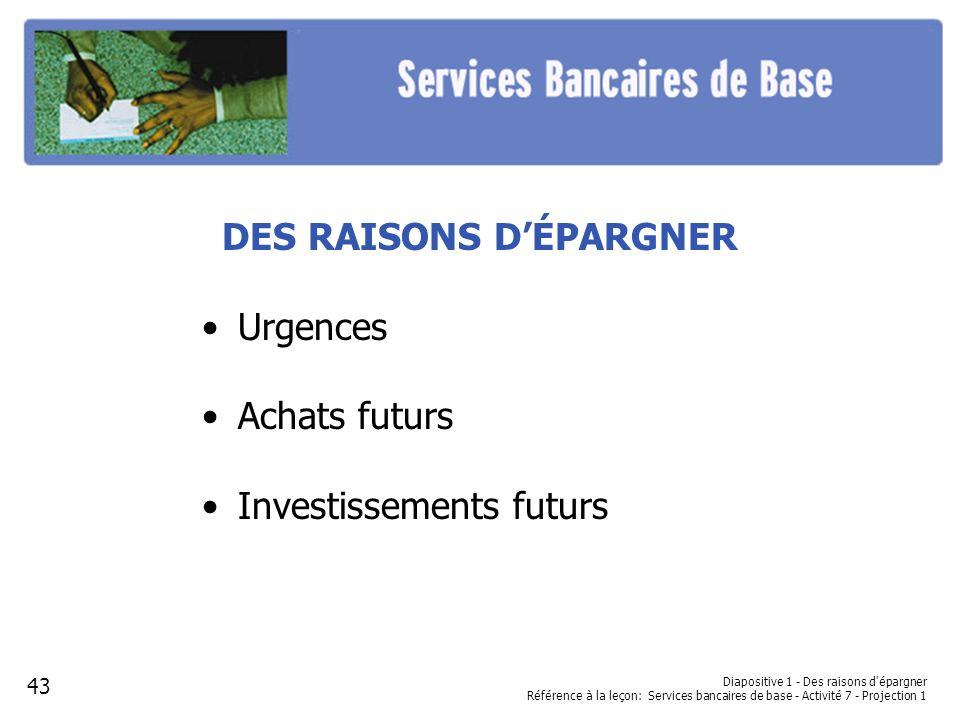 DES RAISONS DÉPARGNER Urgences Achats futurs Investissements futurs Diapositive 1 - Des raisons d'épargner Référence à la leçon: Services bancaires de