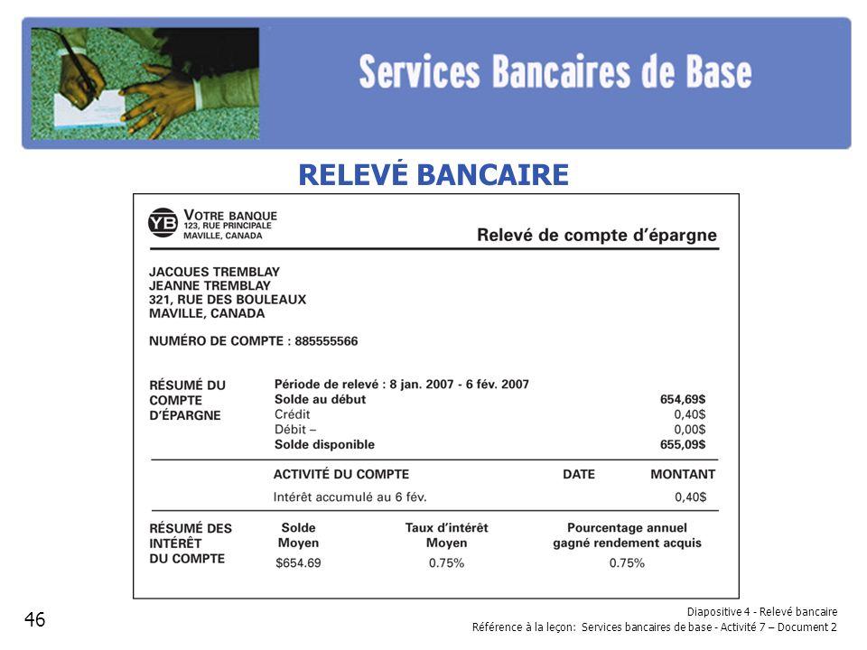 Diapositive 4 - Relevé bancaire Référence à la leçon: Services bancaires de base - Activité 7 – Document 2 RELEVÉ BANCAIRE 46
