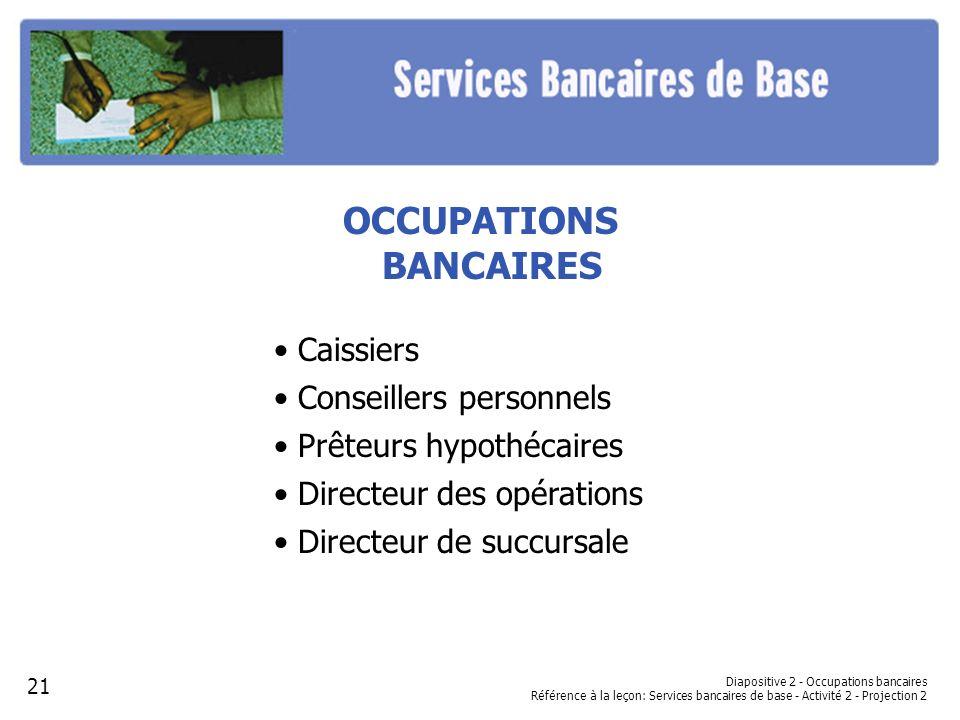 OCCUPATIONS BANCAIRES Caissiers Conseillers personnels Prêteurs hypothécaires Directeur des opérations Directeur de succursale Diapositive 2 - Occupat