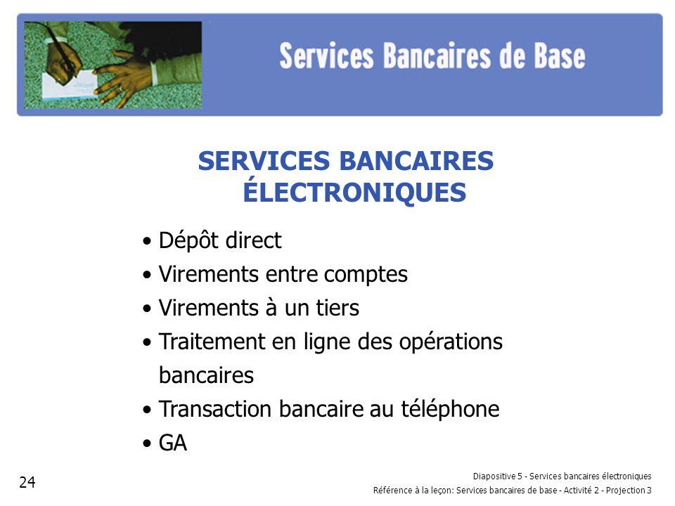 SERVICES BANCAIRES ÉLECTRONIQUES Dépôt direct Virements entre comptes Virements à un tiers Traitement en ligne des opérations bancaires Transaction ba