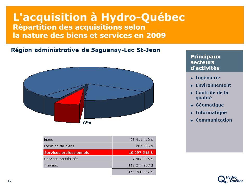 12 L acquisition à Hydro-Québec Répartition des acquisitions selon la nature des biens et services en 2009 Ingénierie Environnement Contrôle de la qualité Géomatique Informatique Communication Principaux secteurs d activités Région administrative de Saguenay-Lac St-Jean