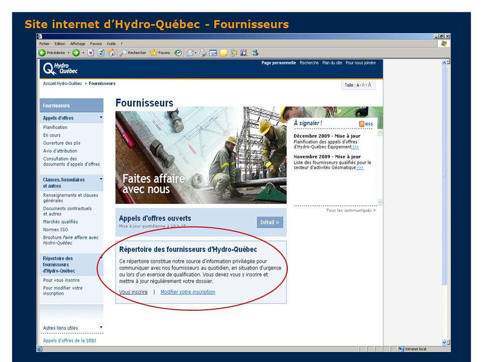 Site internet dHydro-Québec - Fournisseurs