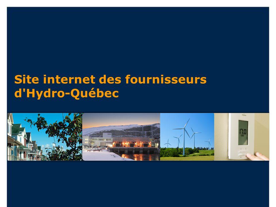 Site internet des fournisseurs d'Hydro-Québec