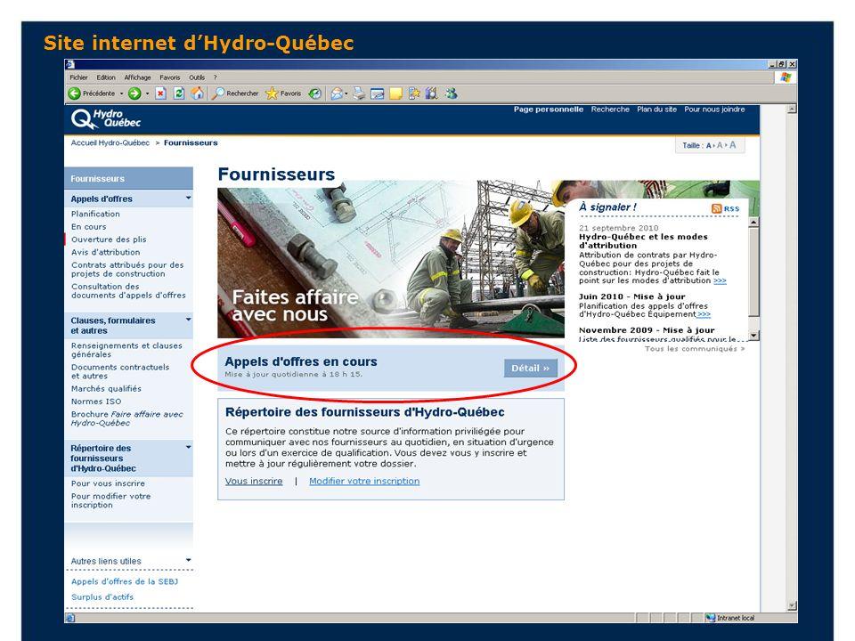 Site internet dHydro-Québec