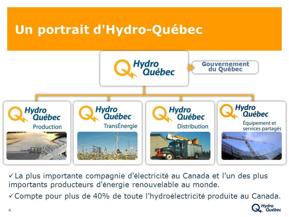 4 Un portrait d Hydro-Québec La plus importante compagnie d é lectricit é au Canada et l un des plus importants producteurs d é nergie renouvelable au monde.