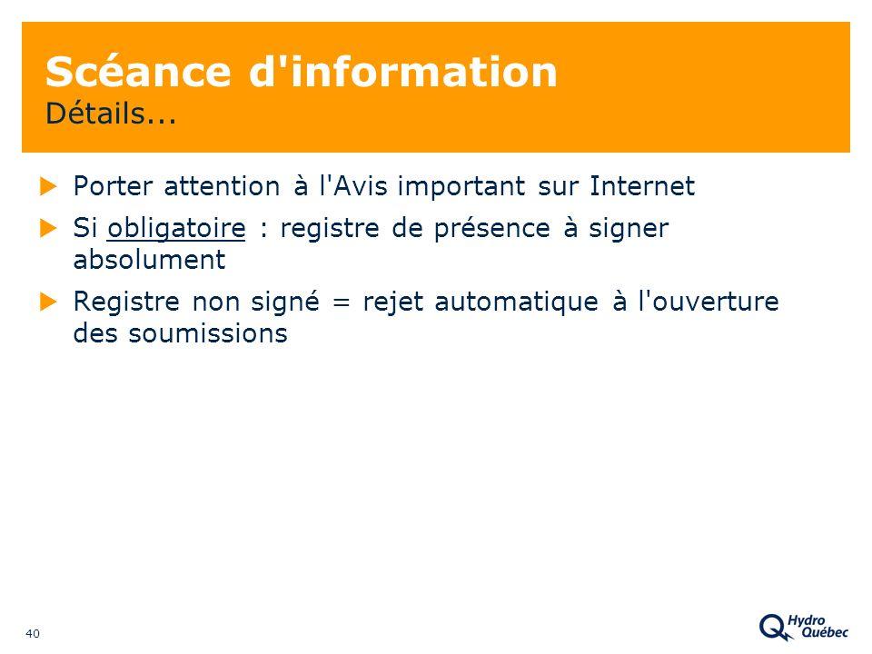 40 Scéance d information Détails...