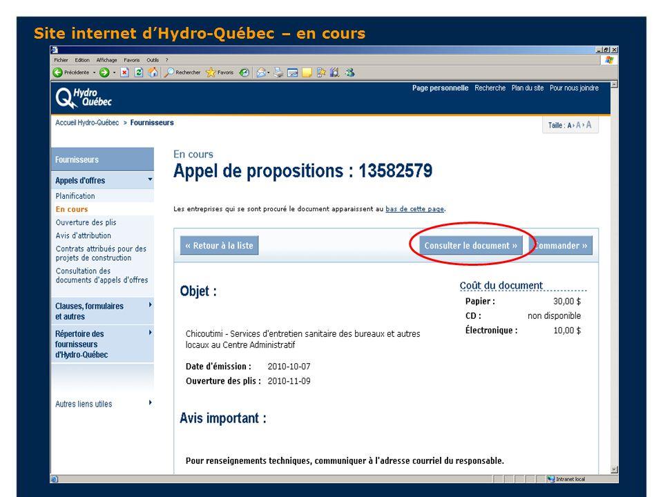 Site internet dHydro-Québec – en cours