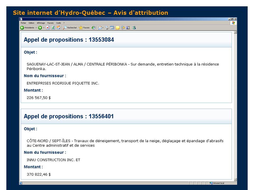 Site internet dHydro-Québec – Avis d attribution
