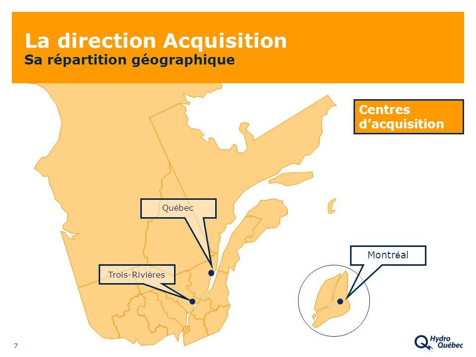 7 La direction Acquisition Sa répartition géographique Qu é bec Trois-Rivi è res Montr é al Centres dacquisition