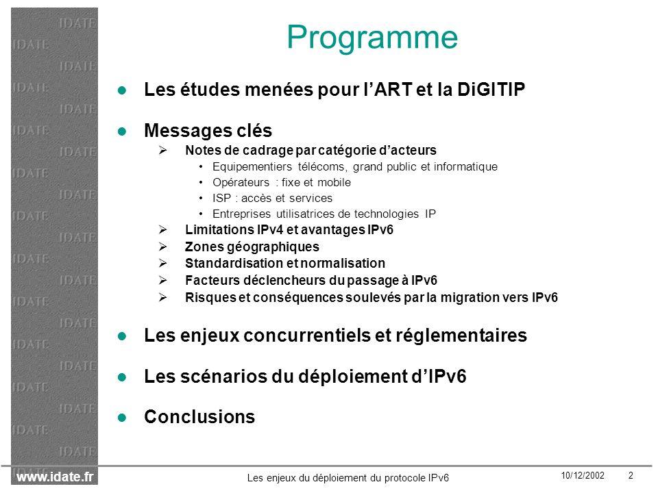 www.idate.fr 10/12/2002 3 Les enjeux du déploiement du protocole IPv6 Les études menées pour lART et la DiGITIP
