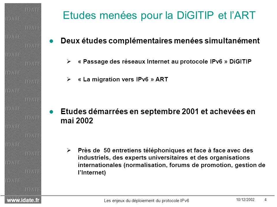 www.idate.fr 10/12/2002 45 Les enjeux du déploiement du protocole IPv6 Une pénurie dadresses en Europe anticipée avant 2010, mais pas à court terme En moyenne, les experts nanticipent pas une pénurie dadresses IP en Europe dans le cas où IPv6 ne se développe pas avant 2008 Il y aura bien une pénurie en IPv4 en Europe.