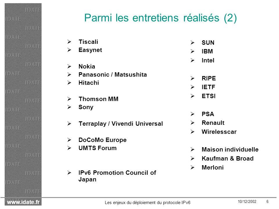 www.idate.fr 10/12/2002 7 Les enjeux du déploiement du protocole IPv6 Structure des rapports finaux Partie 1 : Synthèse générale Partie 2 : Notes de synthèse Partie 3 (ART) : Les enjeux de la régulation en collaboration avec le Cabinet de Pardieu Brocas Maffei & Leygonie Partie 3 (DiGITIP) : Scénarios de transition Annexes Rapport ART disponible : http://www.art-telecom.fr/publications/etudes-ext.htm Rapport DiGITIP disponible sur http://www.telecom.gouv.fr/documents/ipv6/body.htm