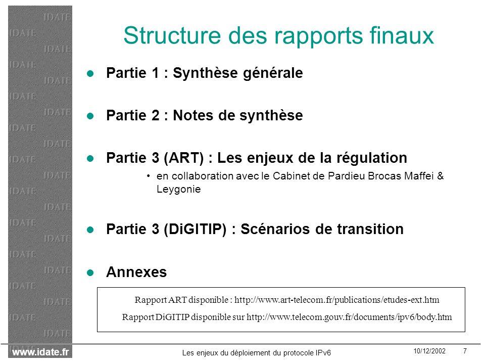 www.idate.fr 10/12/2002 38 Les enjeux du déploiement du protocole IPv6 Les enjeux concurrentiels et réglementaires (2) Création de nouveaux marchés : essentiellement sur les services Marchés amont Services : solutions de transition (e.g.