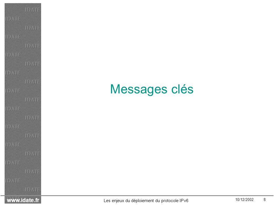 www.idate.fr 10/12/2002 49 Les enjeux du déploiement du protocole IPv6 Transition modérée : probabilité importante Pour les mobiles, le scénario suppose une diffusion de niches reposant sur lhypothèse dune diffusion restreinte de services de données à des segments dutilisateurs avant-gardistes.