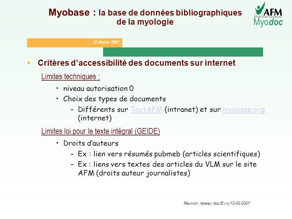 23 févier 2007 Myo doc Réunion réseau doc/Evry/13-02-2007 Myobase : la base de données bibliographiques de la myologie Critères daccessibilité des doc