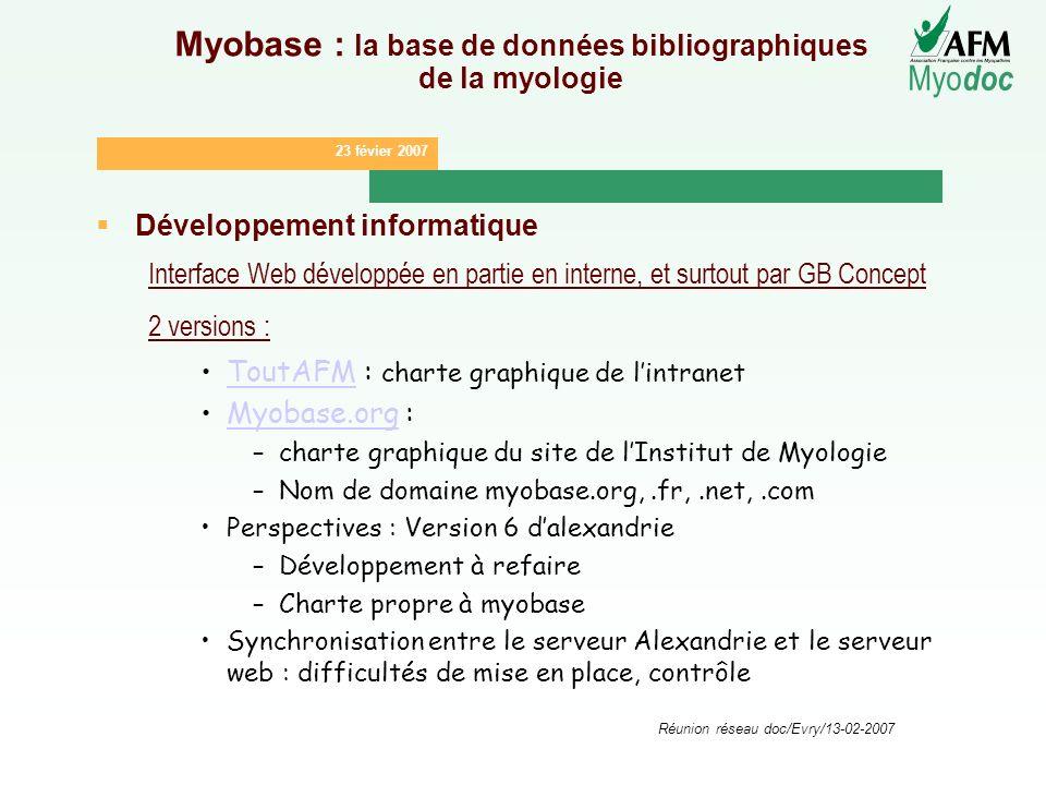 23 févier 2007 Myo doc Réunion réseau doc/Evry/13-02-2007 Myobase : la base de données bibliographiques de la myologie Développement informatique Inte