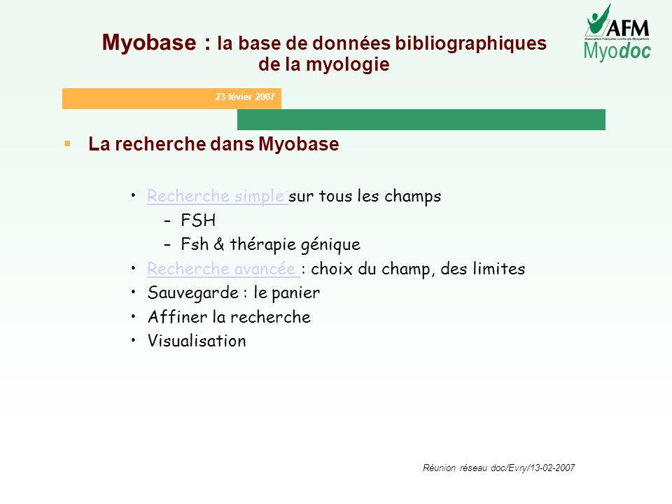 23 févier 2007 Myo doc Réunion réseau doc/Evry/13-02-2007 Myobase : la base de données bibliographiques de la myologie La recherche dans Myobase Reche