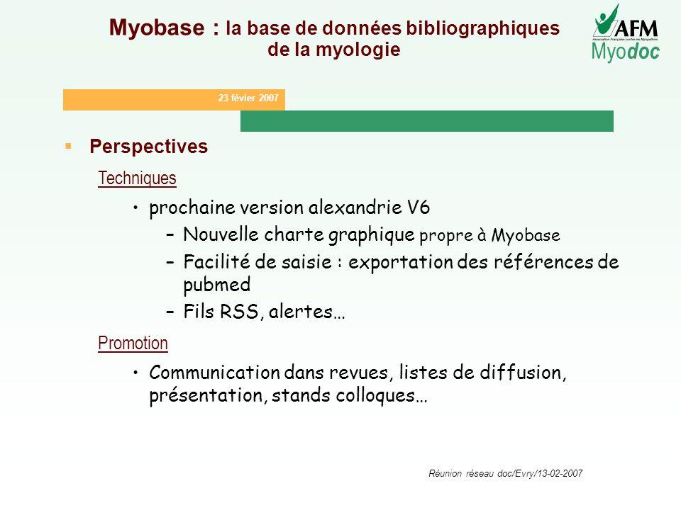 23 févier 2007 Myo doc Réunion réseau doc/Evry/13-02-2007 Myobase : la base de données bibliographiques de la myologie Perspectives Techniques prochai