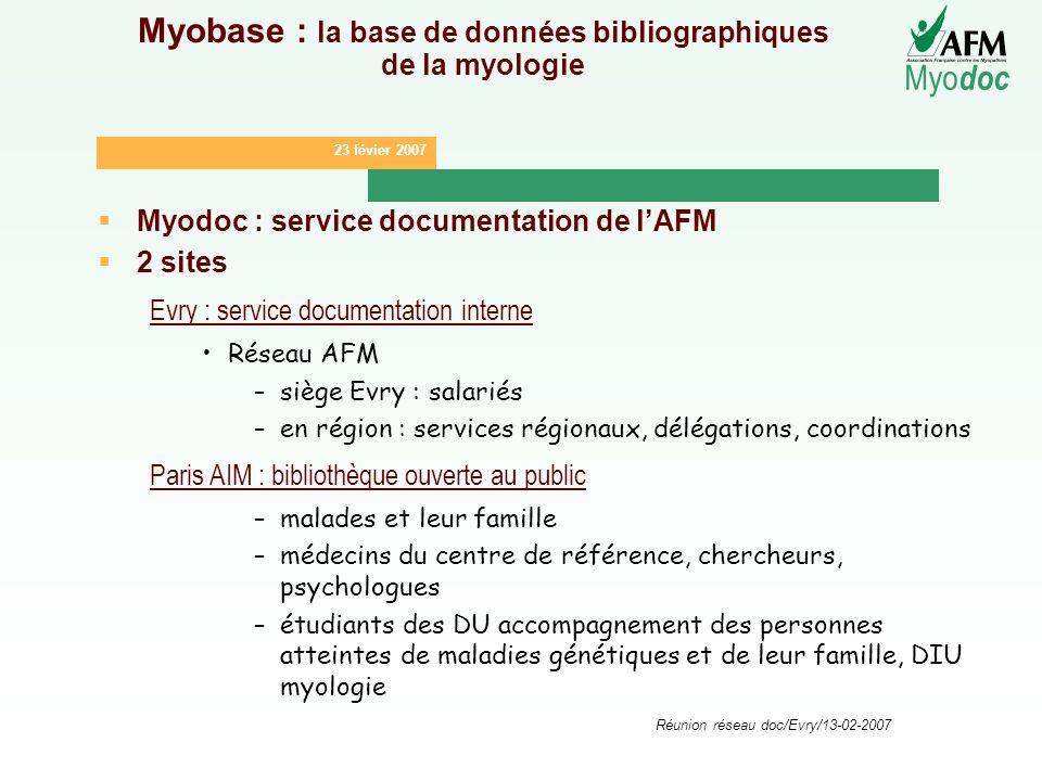 23 févier 2007 Myo doc Réunion réseau doc/Evry/13-02-2007 Myobase : la base de données bibliographiques de la myologie Myodoc : service documentation