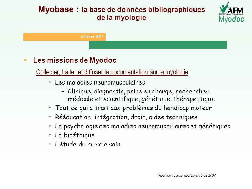 23 févier 2007 Myo doc Réunion réseau doc/Evry/13-02-2007 Myobase : la base de données bibliographiques de la myologie Les missions de Myodoc Collecte